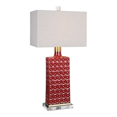 Alimos Glazed Red Ceramic Lamp