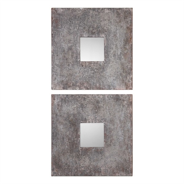 Altha Burnished Square Mirrors S/2