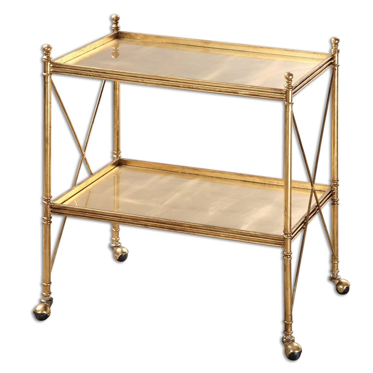 Amaranto Gold Serving Cart