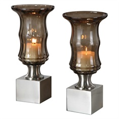 Araby Smoked Glass Candleholders, S/2