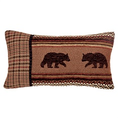 Bayfield Small Oblong Houndstooth & Bear Pillow