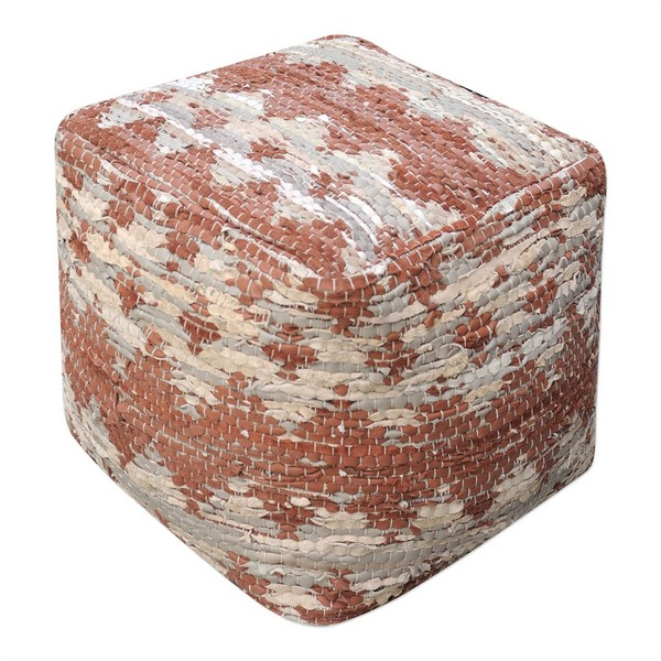 Beige/Brown Rewa Pouf