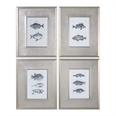 Blue Fish Framed Prints Set/4