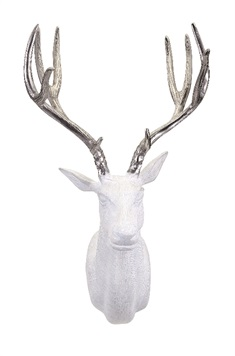 Bowen White and Silver Deer Wall Mount