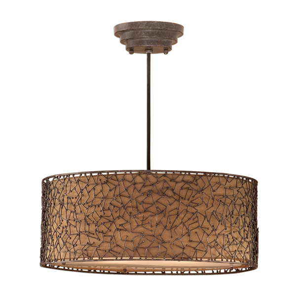 Brandon 3 Light Brown Drum Pendant