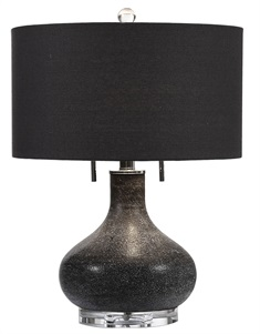 Canelo Distressed Black Glass Lamp