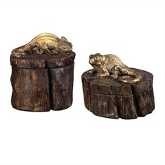 Chameleon Gold & Wood Tone Boxes S/2