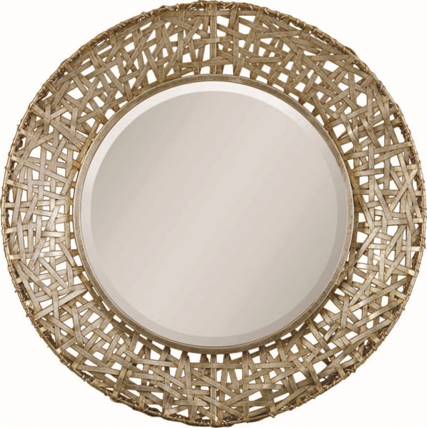 Champagne Woven Metal Mirror