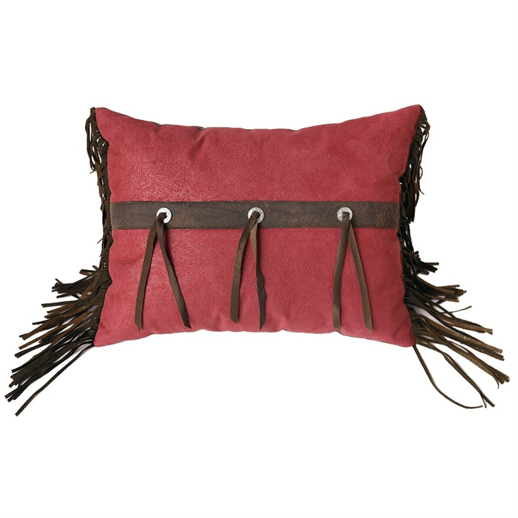 Cheyenne Red Rectangle Pillow with Conchos