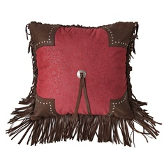 Cheyenne Red Scalloped Tooled Square Pillow