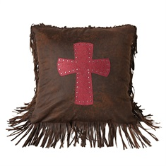 Cheyenne Red Tooled Leather with Cross