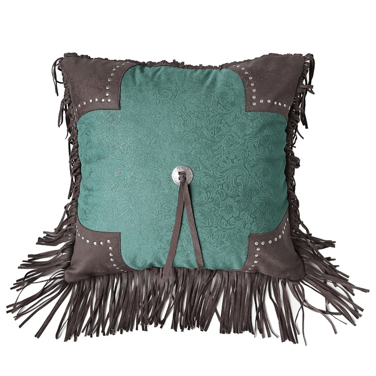 Chyenne Turquoise Scalloped Tooled Square Pillow
