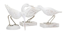 Coastal Carved Wood Seabirds - Set of 3