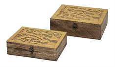 Concepts Eden Carved Wood Boxes - Set of 2