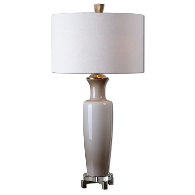 Consuela Taupe Gray Glass Table Lamp