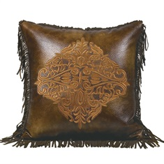 Lorenza Leather pillow with embroidery
