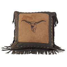 Caldwell Embroidered Steer Pillow