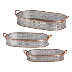 Fabiana Antiqued Silver Trays Set/3