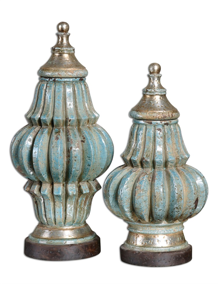 Fatima Sky Blue Decorative Urns, Set/2
