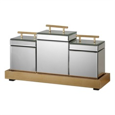 Faustina Mirrored Boxes And Tray S/4