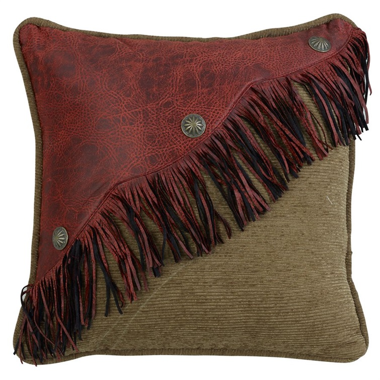 San Angelo Red Leather Fringe Pillow