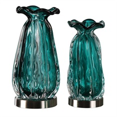 Gabriela Teal Glass Vases S/2