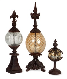 Glass and Metal Finials