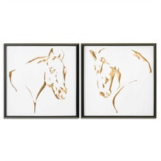 Golden Horses Framed Art, S/2