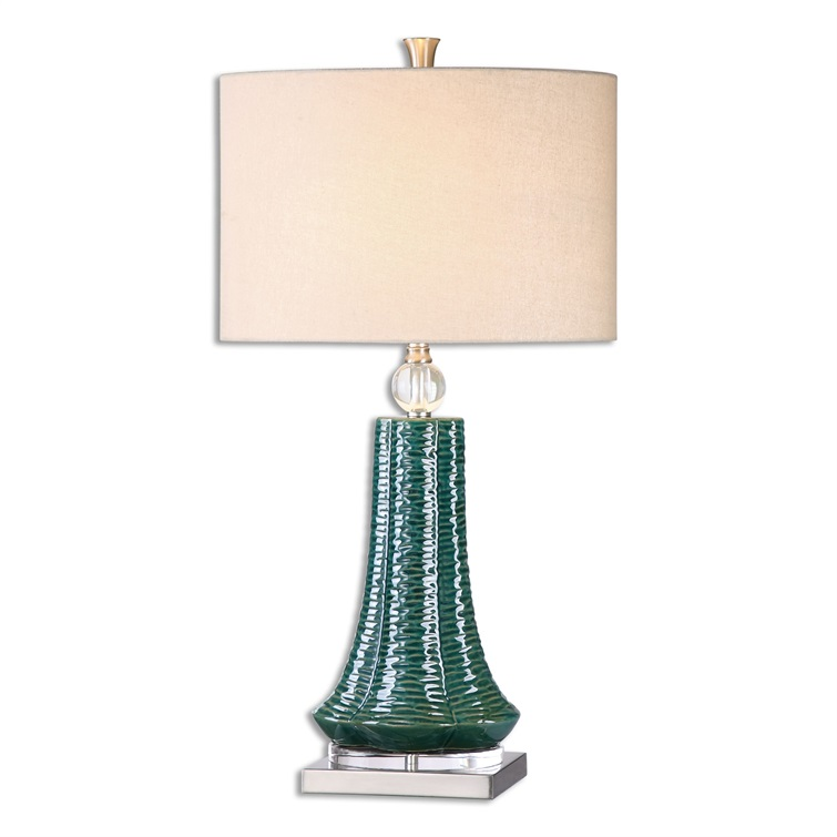 Gosaldo Textured Teal Table Lamp