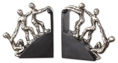 Helping Hand Nickel Bookends, Set/2