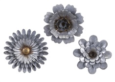 Hillary Galvanized Wall Flowers - Set of 3