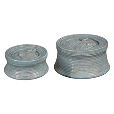 Ida Crackled Ceramic Boxes, Set of 2