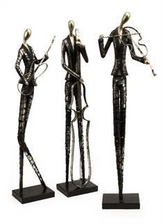 Jazz Club Musician Statuaries - Set of 3