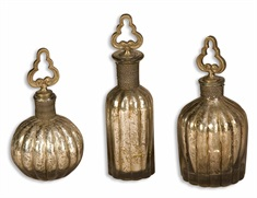Kaho Antique Silver Perfume Bottles S/3