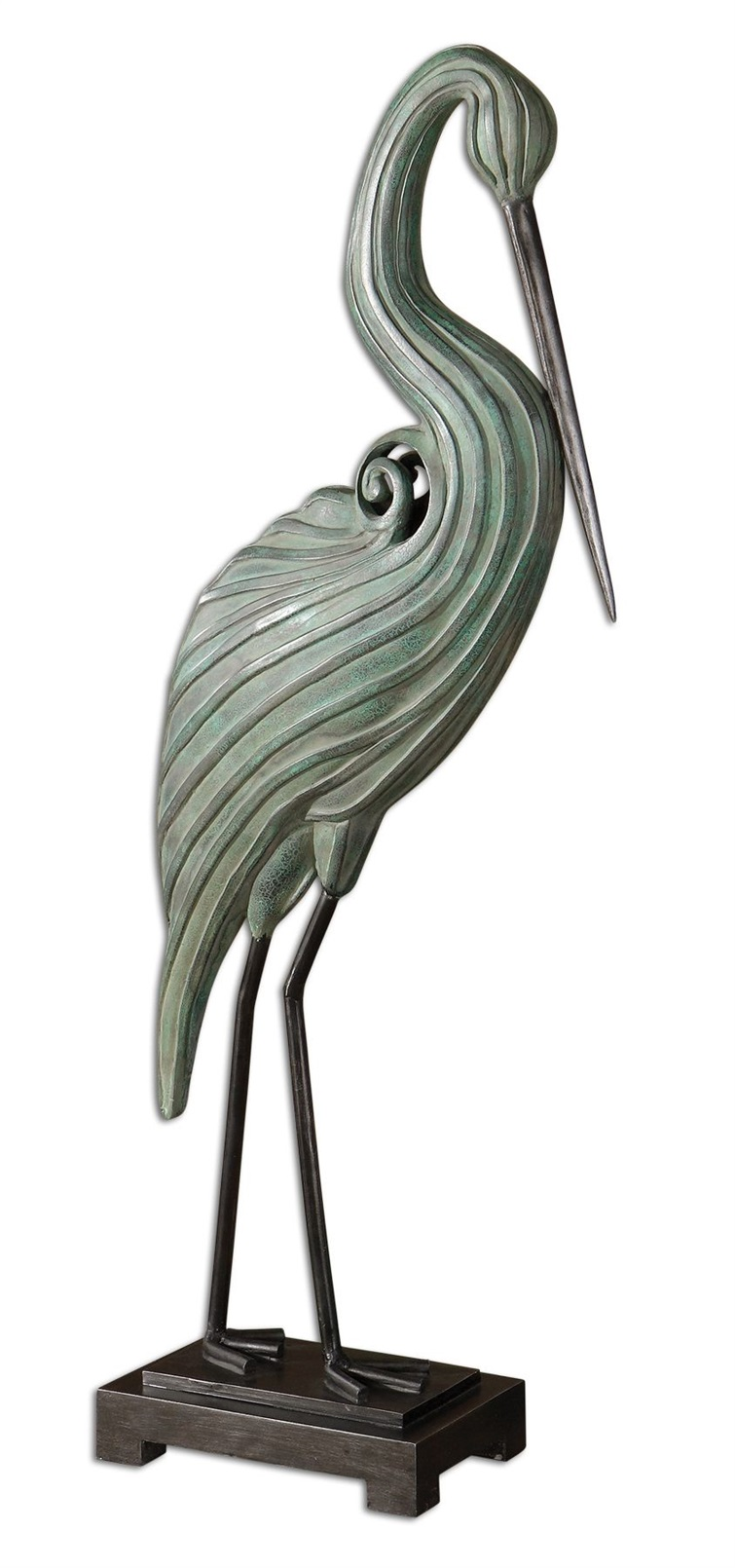 Keanu Blue-Green Heron Sculpture