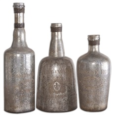 Lamaison Mercury Glass Bottles S/3