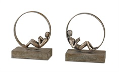 Lounging Reader Antique Bookends Set/2