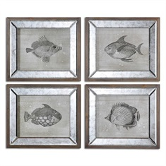 Mirrored Fish Framed Art S/4