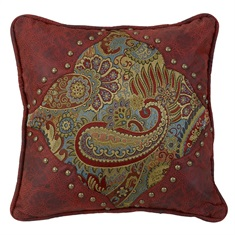 San Angelo Paisley with Leather Corners Pillow