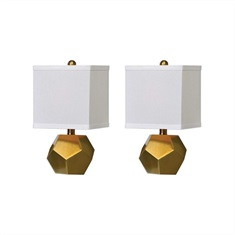 Pentagon Cubes Brushed Brass Lamps S/2