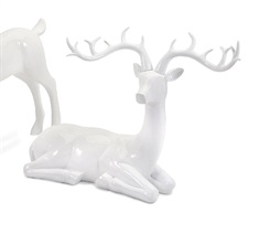 Playful Reindeer- White (antlers KD)-Sitting