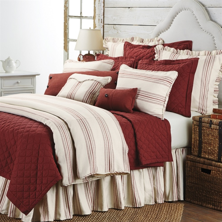 Prescott Red 3 PC Duvet Set