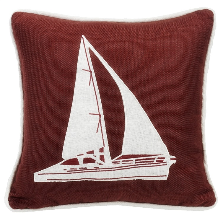 Prescott Red Sailboat Embroidery Pillow
