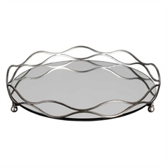 Rachele Mirrored Silver Tray
