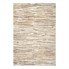 Riviera Ivory Brown Striped Rug Swatch