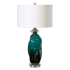 Rotaldo Blue-Green Glass Table Lamp