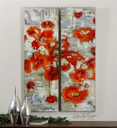 Scarlet Poppies Floral Art S/2