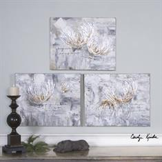 Silver And Taupe Flowers Art