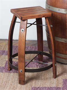 Stave Stool With Wooden Top 24""