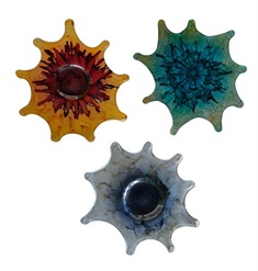 Sun Burst Deco Glass Wall Art, Set of 3